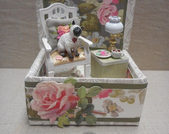 Miniature roombox - Siamese cat with tea and cookies