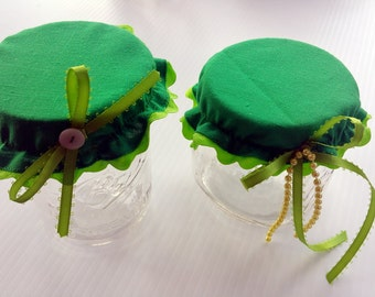Set of 2 Green Mason Jar Covers with Ribbons and Beads , Green Glass Jar Covers, Mason Jar Bonnet, Glass Jar Bonnet, Mason Jar Lid Topper