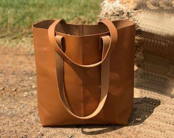 Sale!!! Camel leather tote bag Camel leather bag vegan Camel tote Leather shopper bag Tan leather leather tote laptop veg tan leather