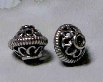 20% OFF SALE Bali Sterling Silver 8.5 x 9.5mm Ornate Wired Bead #1414 - (1)