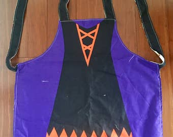 Halloween apron reversible with fall theme on other side