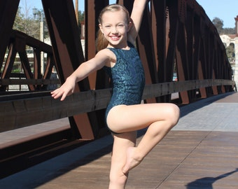 Teal and Navy lace leotard. Dancewear