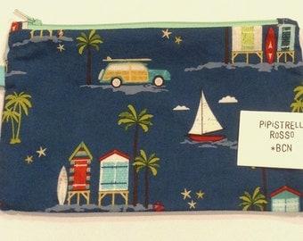 Pencil case with beach pattern, funny pencil case, surfer pencil case