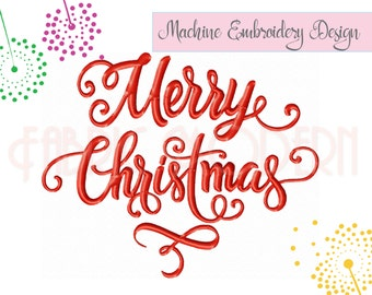 MERRY CHRISTMAS typography Machine Embroidery Design, decoration, holiday design #811