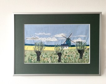Landscape art - Dutch textile art - hand embroidery - windmill scene - framed artwork