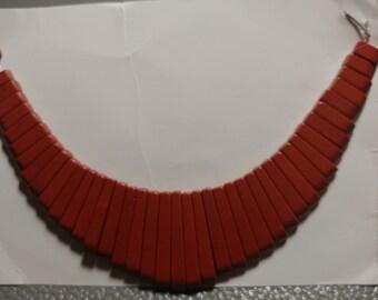 VINTAGE 41 Pc. Red Jasper Stone Collar - Cleopatra Style (2044013)