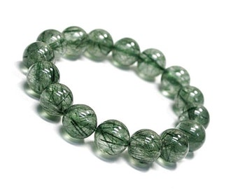 9 mm Green Rutile Quartz, Green Rutilated Quartz Bracelet, Rutilated Quartz Bracelet, Quartz Jewelry, Green Quartz Bracelet, Rutile Quartz