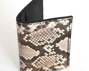 Leather Minimalist Wallet, Python wallet, Card Wallet, Snakeskin Wallet