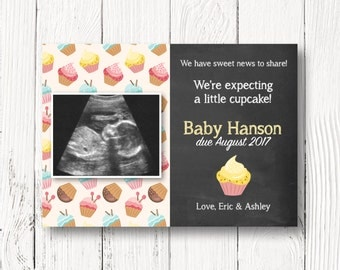 Cupcake Pregnancy Announcement Card - Pregnancy Reveal with Sonogram - Printable Chalkboard Card - Size 5x7 - CUSTOMIZED PRINTABLE FILE