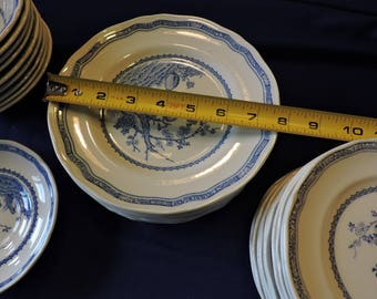 Furnivals Blue Quail China Salad Plates Scalloped Top Rim Round Backstamp 1913c Sold in Pairs Only