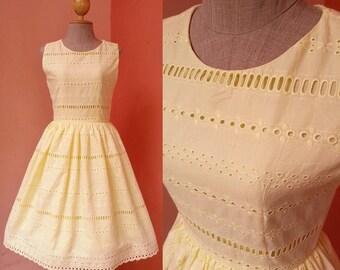 Yellow Dress Women 1950s Dress Bridesmaid Dress Prom Dress Party Dress Rockabilly Dress Lace Dress Cotton Dress Mini Dress Size 4 Small