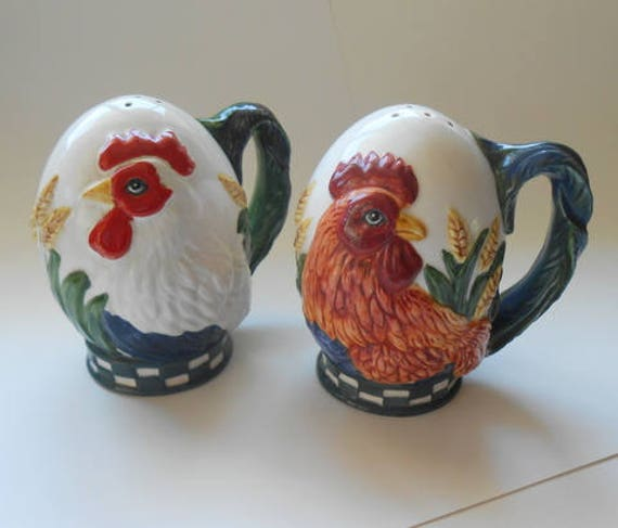 Rooster Salt and Pepper Shakers Dept. 56 Hand Painted