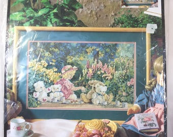 """Bucilla Needlepoint """"Tea Party"""" 4705 Kit by Kevin Roeckl Dated 1995"""