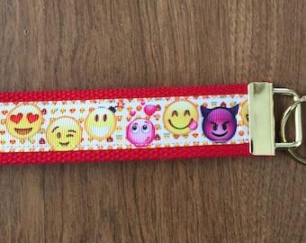 Emoji Key Chain Wristlet Zipper Pull