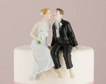 Whimsical Sitting Barefoot Bride and Groom Wedding Cake Topper - Choose your hair color and skin tone - 6080