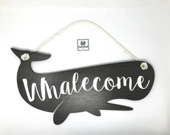 Whalecome Sign | Welcome Sign | Summer | Home Decor | Wall Art | Beach Art | Whale | Nautical