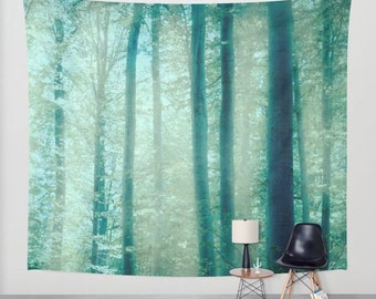 SALE Into The Woods - wall tapestry, wall hanging, forest tapestry, nature theme, bohemian, trees, leaves, autumn, three sizes