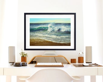 Father's Day, Ocean Beach Painting Print, Oil Painting,  Seascape, Art print, Wall decor, Gift for Dad, Giclee