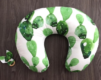 Watercolor cactus Boppy pillow cover with zipper. Organic nursing pillow cover. Green cactus watercolor prickly pear. Gender neutral (#0293)