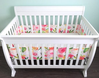Breathable crib bumper. Floral watercolor flowers roses pink blush coral yellow peach peonies. Breathable fabric wrap around crib bumper