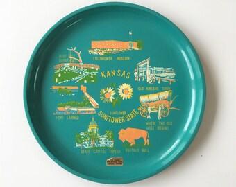 Vintage teal green souvenir Kansas tray mid century
