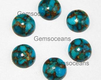 10 Pieces Lot Blue Copper Turquoise 4X4 mm Round Shape Gemstone Cabochon
