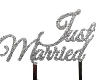 Just Married - Wedding cake topper with SILVER GLITTER