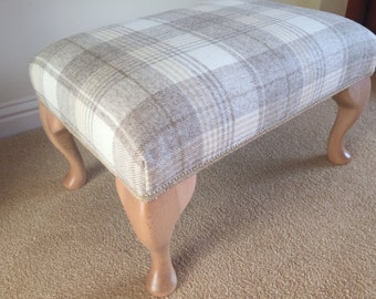 Footstool upholstered in 100% wool cream check with Queen Anne legs
