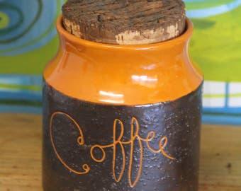 Hanstan Original Australian Pottery Coffee Canister in Orange  & Brown Glaze c.1974 #4