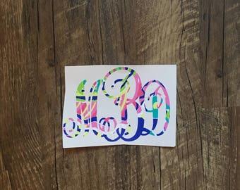 Monogram lily pulitzer decal // yeti, lowball, sticker, sorority, printed vinyl, lily pulitzer, initials, vinyl, personalized, custom