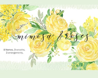 Mimosa & roses watercolor clip art,hand drawn. Frames, wreaths and arrangements. Roses, peony, spring garden wedding, yellow flowers