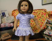 """Doll (18"""") dress drop-waisted bluish with white lace"""