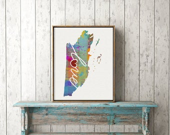 Belize Love - Colorful Watercolor Style Wall Art Print & Home Country Map Artwork - Travel, Moving, Engagement, Wedding, Honeymoon Gift