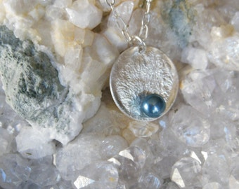 Sterling Silver Reticulated Blue FWP Disc Pendant