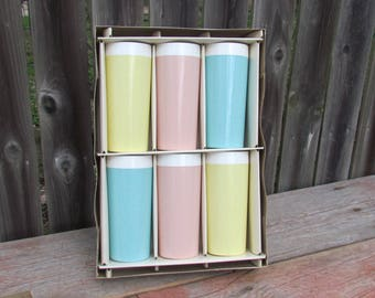Vintage 1960's Thermo-Serv Insulated Colorful Speckled Plastic Drinkware, New In Box, West Bend