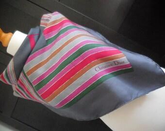 CHRISTIAN DIOR Vintage multicolor silk scarf. French square Foulard. Christian Dior. French Vintage