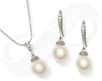 Pearl Earring and Necklace Set White Swarovski Pearl Bridesmaid Jewelry Set