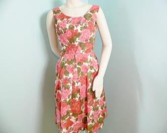 1950s 1960s Floral Taffeta Party Dress Peach Geranium Dress with Back Bow