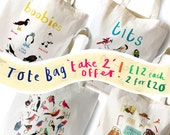 Pair of Cotton Tote bags  Take 2 price  Humorous Eco Food Bird Illustration shopping bag