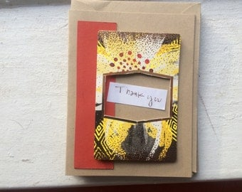Thank You Cards. Handmade Cards. Patterned Paper Cards. Recycled Paper Cards. Set of 5.