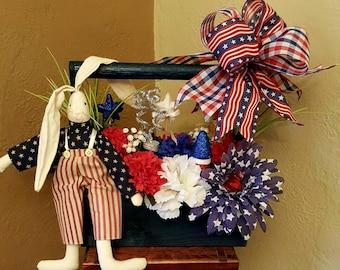 Patriotic Floral Arrangement, Patriotic Tool Caddy, Patriotic Floral, Patriotic Decor, Patriotic Tool Caddy, Floral Arrangement