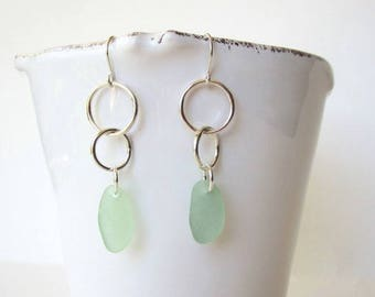 Sea Glass and Sterling Silver Earrings, Sea Foam Sea Glass and Sterling Silver Dangle Earrings, Genuine Sea Glass Jewelry ,Bridesmaid Gift