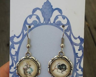 Vintage Alice in Wonderland - Alice and Cheshire Cat dangle earrings