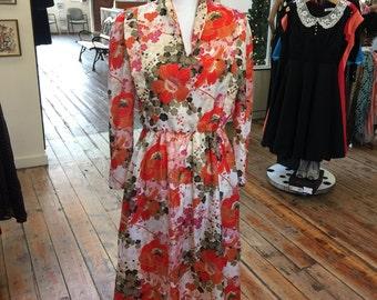 ORange 70's floral dress