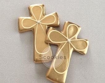 Gold Cross cookies / 1 Dozen / Baptism cookies / First communion cookies/ Holy communion cookies / Christening  cookies /Cross cookies