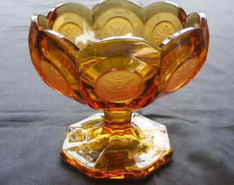 Fostoria Amber Coin Glass Compote 1887 Olympic Flame 4 1/4 Open Jam Jelly Candy Relish Condiment Footed Stem Pedestal Bowl Dish Centerpiece