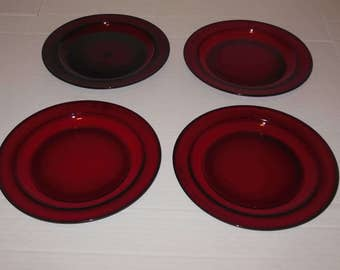 4 Vintage Ruby Red Glass Salad Dessert Plates 7 1/4 Inch