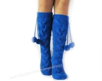 Wool socks Hand made socks Knee high Socks knit socks Hand knit blue socks Warm winter socks