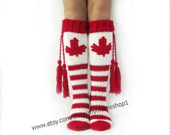 Long socks Canadian flag  Knee high Socks Patriotic Canadian Knee high Socks Handmade