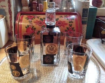 Vintage Mid Century black and 22kt gold 1950's Cera US Coin Lowball/Rocks/ Double Old Fashioned Glasses and Gin Decanter American Barware